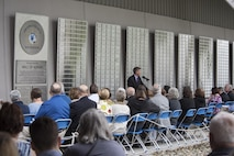 National Museum of the U.S. Air Force Director Lt. Gen. (Ret.) Jack Hudson speaks at the 2017 Legacy Data Plate Wall of Honor Tribute Ceremony held at the museum on May 25, 2017. Traditionally, all military aircraft have a data plate, which identifies the builder, and includes the aircraft model designation, serial number, and other important information. These Legacy Data Plates extend this tradition as a means to recognize and honor individuals.(U.S. Air Force photo by Ken LaRock)