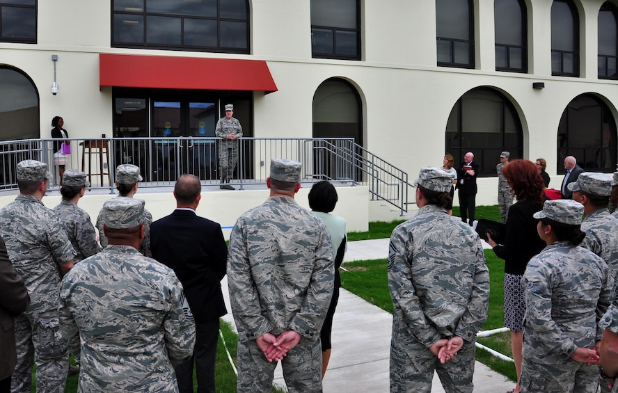 U.S. Air Force Maj. Gen. Peggy Poore, Air Force Personnel Center commander, addresses a crowd of AFPC team members during a ribbon-cutting ceremony May 23, 2017, at Joint Base San Antonio-Randolph, Texas. The demolition and subsequent restoration of the area formerly housing Building 499-B took two years and 10 months to complete. (U.S. Air Force photo by Staff Sgt. Alexx Pons)