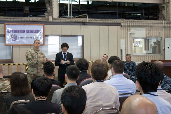 Brig. Gen. John S. Laskodi gave brief remarks to the DLA Distribution Sasebo workforce about what he's focused on. Laskodi highlighted safety, audit readiness, mission command and modernization as his top priorities.