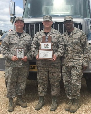 (from left to right) U.S. Airmen, Senior Master Sgt. Robert Ward, Tech. Sgt. Michael Morris and Staff Sgt. Michael Hill, vehicle operators with the 139th Logistics Readiness Squadron, Missouri Air National Guard, pose with a trophy after winning the Best in the Midwest Ground Transportation Rodeo, at Fort Leonard Wood, Mo., May 21, 2017.