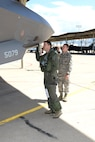 Lt. Col. Dave DeAngelis, an F-35 Lightning II pilot assigned to the 419th Operations Group, and Airman 1st Class Michael Wilkins, a crew chief assigned to the 34th Aircraft Maintenance Unit,  prepare for flight May 22 at Hill Air Force Base, Utah. The flight in aircraft 5079 was the 3,000th operational F-35 sortie flown at Hill. (U.S. Air Force/Todd Cromar)