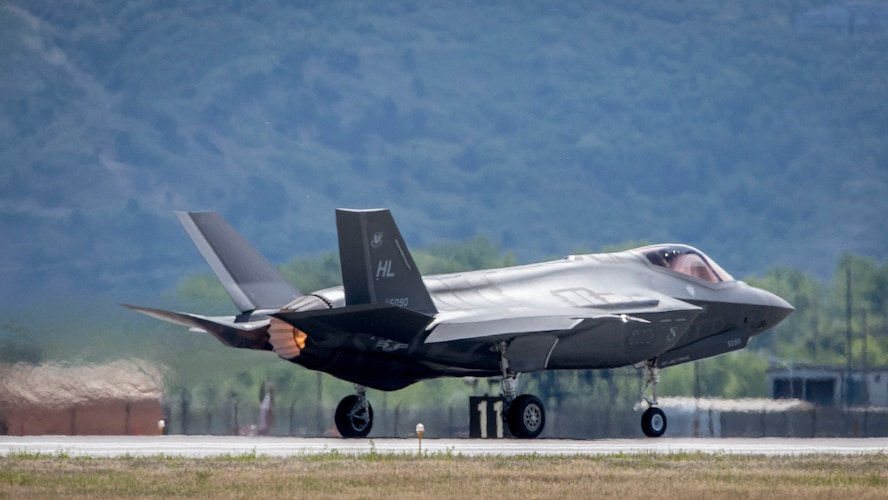 An F-35 Lightning II aircraft assigned to Hill Air Force Base takes off from the base, May 22. The F-35 is among the first to fly sorties at the base with a new version of ALIS (Autonomic Logistics Information System), the information technology infrastructure which performs behind-the-scenes monitoring, maintenance and prognostics to support the aircraft and ensure continued health and enhance operational planning and execution. (U.S. Air Force/Paul Holcomb)