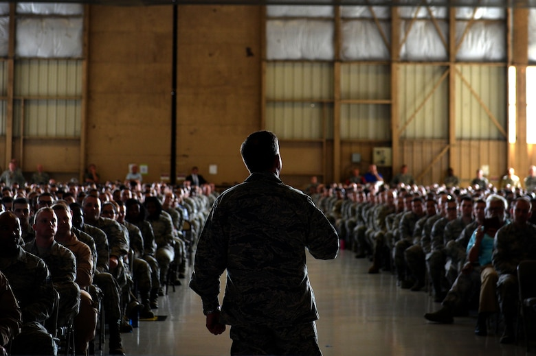 U.S. Airmen assigned to Shaw Air Force Base, S.C., listen as Air Force Chief of Staff Gen. David L. Goldfein speaks about current Air Force operations during an all-call at Shaw Air Force Base, S.C., May 30, 2017. During the all-call Airmen received the opportunity to ask Goldfein questions about the current state of the Air Force and any concerns they had. (U.S. Air Force photo by Airman 1st Class Christopher Maldonado)