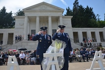 From left: U.S. Air Force Gen Tod D. Wolters, U.S. Air Forces in Europe - Air Forces Africa commander and Col. Jack Aalborg, Air Attache to France, salute after laying a wreath at a Memorial Day ceremony at Suresnes American Cemetery, Suresnes, France, May 28, 2017. This Memorial Day is especially significant because 2017 marks the centennial of United States' entry into the First World War. (U.S. Air Force photo by Capt. Ben Sowers/Released)
