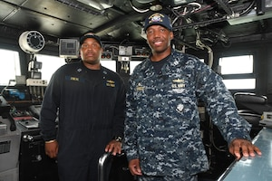 MANAMA, Bahrain (May 22, 2017) Lt. Joseph Brisco, a native of Vicksburg, Ms. and commanding officer the Cyclone-class coastal patrol ship (PC) USS Whirlwind (PC 11), stands inside his ship's bridge. Whirlwind is one of 10 PCs forward deployed to Manama, Bahrain, whose mission is coastal patrol and interdiction surveillance. (U.S. Navy photo by Mass Communication Specialist 2nd Class Victoria Kinney)