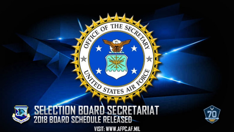 The Air Force Selection Board Secretariat conducts about 140 boards per year, including all general officer promotion and federal recognition boards; officer promotion, continuation and force management boards; master, senior master and chief master sergeant enlisted evaluation boards; and other boards as directed by the Secretary of the Air Force. (U. S. Air Force graphic by Staff Sgt. Alexx Pons)