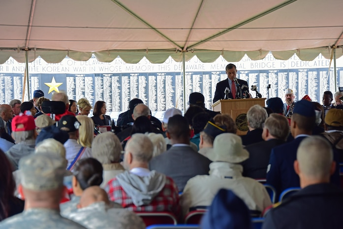 Governor John Carney addresses military members, local leaders, veterans organizations, veterans and families during the Memorial Day Ceremony to honor the fallen at the Delaware Veteran's Memorial Park, New Castle, Del., 30 May 2017.(U.S. Air National Guard photo by SSgt. Andrew Horgan/released)