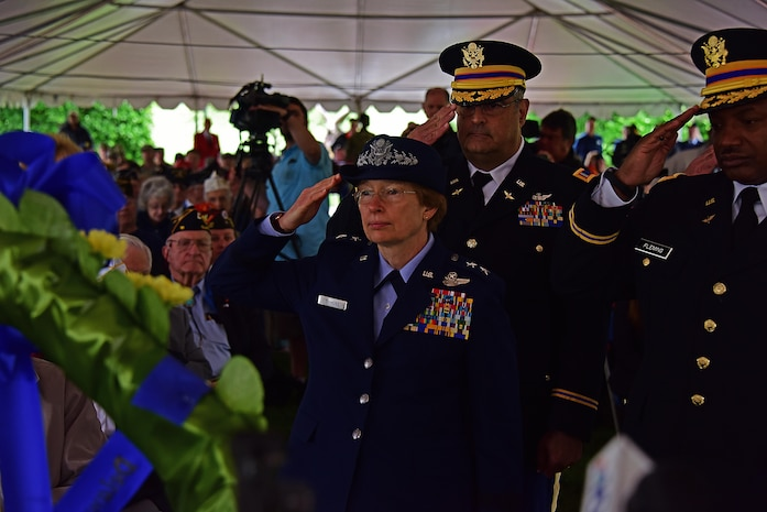 Maj. Gen. Carol A. Timmons, adjutant general, Delaware National Guard leads the salute for the fallen during the Memorial Day Ceremony at the Delaware Veteran's Memorial Park, New Castle, Del., 30 May 2017.(U.S. Air National Guard photo by SSgt. Andrew Horgan/released)