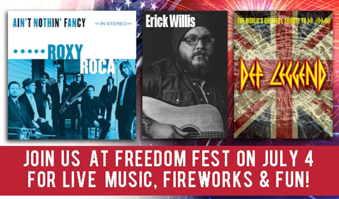 Sheppard Air Force Base will open it's gates to the community July 4, 2017, for live music, fireworks and fun at the Freedom Fest celebration. This year's musical guests are Roxy Roca, Erick Willis and Def Leggend, a renown Def Leppard tribtue band. (U.S. Air Force graphic by 82nd Force Support Squadron)