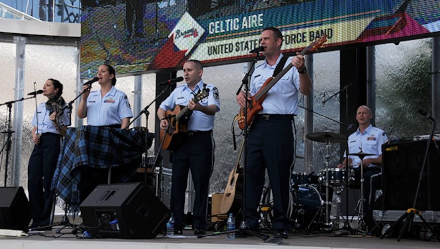 """U.S. Air Force Band's Celtic Aire performs a pre-game concert at SunTrust Park in Atlanta, Georgia May 20, 2017. As part of the Atlanta Braves' Military Appreciation Day celebration, the band took the crowd on a folk and pop musical journey, opening with Paul Simon's """"Cecelia"""" and encoring with a medley of the armed forces' service songs. (U.S. Air Force photo/Airman 1st Class Justin Clayvon)"""