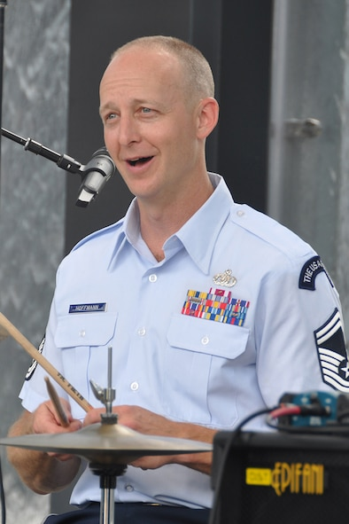 "Senior Master Sgt. Dennis Hoffmann, U.S. Air Force Band's Celtic Aire percussionist and non-commissioned officer-in-charge, performs a pre-game concert at SunTrust Park in Atlanta, Georgia May 20, 2017. ""SunTrust Park is awesome,"" he said ""It's such a great place to watch baseball, hear a concert, eat dinner, and spend quality time with friends and family."" (U.S. Air Force photo/Master Sgt. James Branch)"