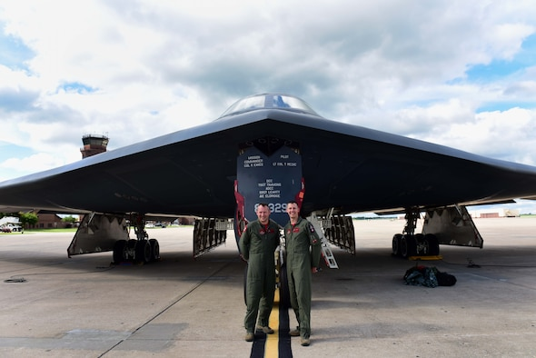 Royal Air Force (RAF) Squadron Leader Wesley Pead, a 13th Bomb Squadron assistant director of operations, left, flew his last B-2 Spirit flight with U.S. Air Force Capt. Dustin Duke, a 13th Bomb Squadron flight commander, at Whiteman Air Force Base, Mo., May 20, 2017. Pead was the fifth foreign exchange officer to take part in the Exchange Officer Program between the U.S. Air Force and the RAF.