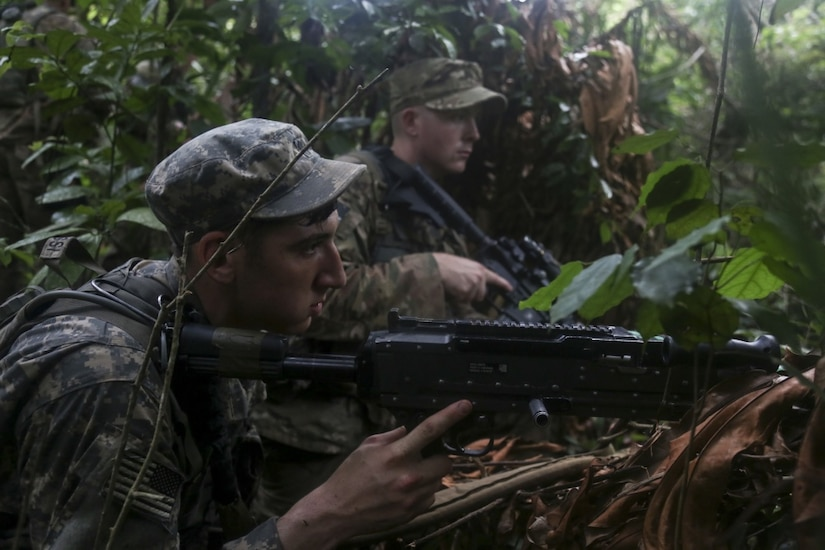 U.S. soldiers assigned to the 1st Battalion, 506th Infantry Regiment provide security during United Accord 2017 at the Jungle Warfare School at Achiase military base in Akim Oda, Ghana, May 26, 2017. Army photo by Sgt. Brian Chaney