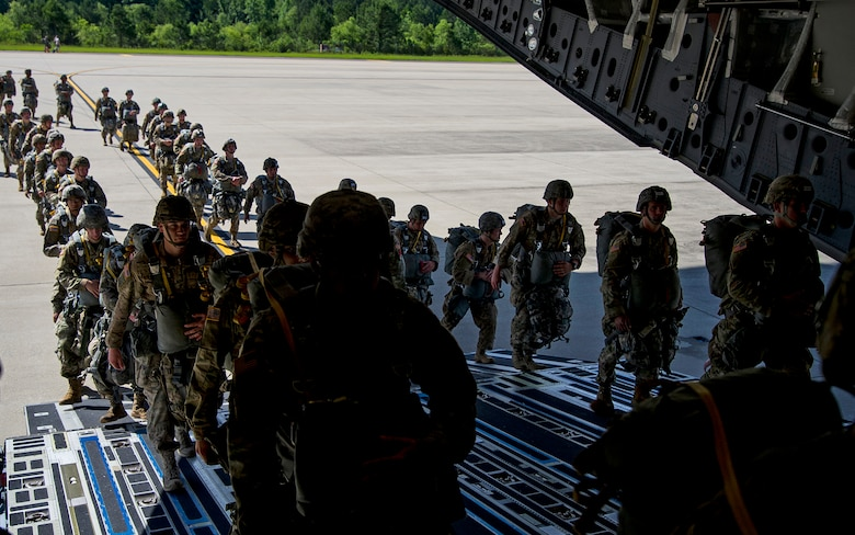 About 1,600 paratroopers from the 82nd Airborne Division packed 18 C-17 Globemaster IIIs from Joint Base Charleston, S.C. en-route to a Fort Bragg, N.C. airdrop May 25. (U.S. Air Force Photo / Tech. Sgt. Bobby Pilch)