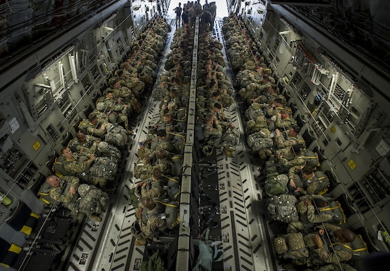 About 1,600 paratroopers from the 82nd Airborne Division packed 18 C-17 Globemaster IIIs from Joint Base Charleston, S.C. en-route to a a Fort Bragg, N.C. airdrop May 25.