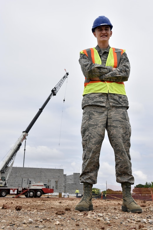 Airman 1st Class Zachary Free, 175th Civil Engineering Squadron, stands in a trailer on-site May 24, 2017 at Warfield Air National Guard Base, Middle, River, Md. Free uses the trailer occasional to assist contractors overnight shifts. (U.S. Air National Guard photo by Airman Sarah M. McClanahan /Released Master Sgt. Chris Schepers)