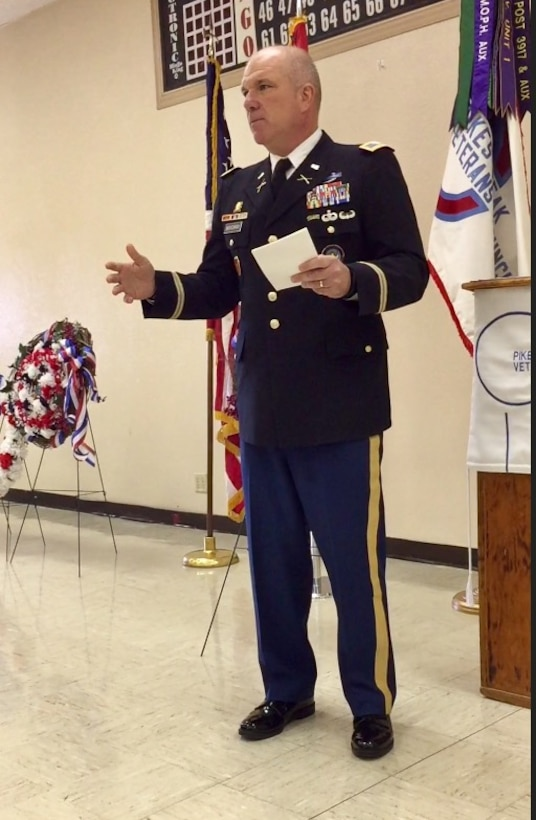 Col. Thomas D. Boccardi speaks at the Pikes Peak Veterans Council Memorial Day ceremony May 29, 2017.
