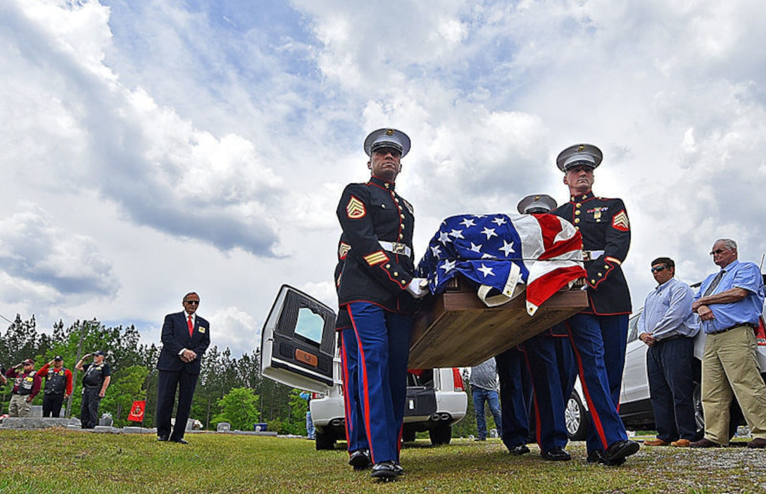 Marines with Marine Corps Logistics Base Albany funeral detail transport the casket of Marine Pfc. James O. Whitehurst to his final resting place at Cowarts Baptist Church Cemetery in Cowarts, Alabama, April 12, 2017. Whitehurst was killed in action at the battle of Tarawa during World War II, Nov. 23, 1943. (Courtesy Photo)