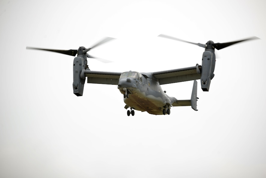 A CV-22 Osprey from Cannon Air Force Base, New Mexico, prepares to land on Goodfellow Air Force Base, Texas, May 30, 2017. The CV-22 Osprey is a tilt rotor aircraft that is capable of the take-off and landing qualities of a helicopter with the fuel efficiency and speed of a turboprop aircraft. Its mission is to conduct long-range infiltration, exfiltration and resupply missions. (U.S. Air Force photo by Airman 1st Class Randall Moose/Released)