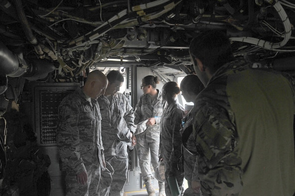17th Training Wing students study the inside of a CV-22 Osprey on Goodfellow Air Force Base, Texas, May 30, 2017. The visit gave students a hands-on experience, allowing them to have a bigger picture of their job in the operational Air Force. (U.S. Air Force photo by Airman 1st Class Randall Moose/Released)
