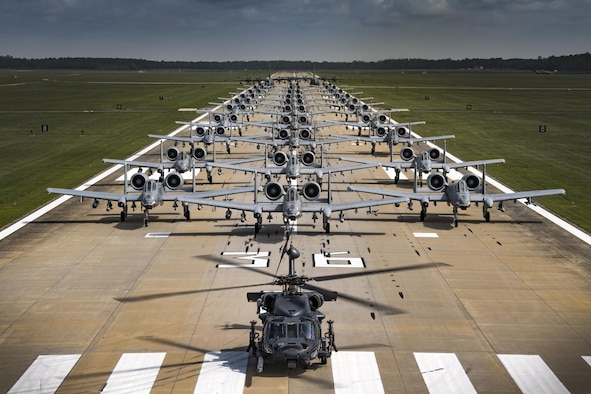 Aircraft from the 23d Wing conducted a surge exercise May 22, 2017, at Moody Air Force Base, Ga. The exercise was conducted in order to demonstrate the wing's ability to rapidly deploy combat ready forces across the globe. The 23d Wing maintains and operates A-10C Thunderbolt IIs, HH-60G Pave Hawks, and HC-130J Combat King II aircraft for precision attack, personnel recovery and combat support worldwide. (U.S. Air Force photo by Staff Sgt. Ryan Callaghan)