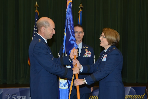 Maj. Gen. Mary F. O'Brien takes command of 25th Air Force from Gen. Mike Holmes, Commander of Air Combat Command, May 31, at Joint Base San Antonio – Lackland.