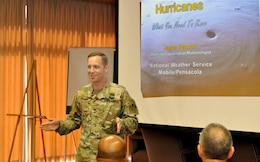 Col. James Delapp, Mobile District commander, speaks to local stakeholders May 25 during the annual Hurricane/Industry Day, held at the Alabama International Trade Center. Hurricane season officially begins June 1.