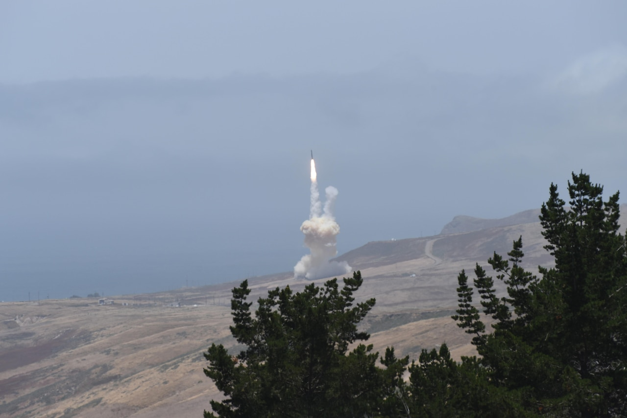 A long-range ground-based interceptor launches from Vandenberg Air Force Base, Calif., May 30, 2017, to intercept an intercontinental ballistic missile target that was launched from the U.S. Army's Reagan Test Site on Kwajalein Atoll in the Marshall Islands. This was the first live-fire test event against an ICBM-class target. The ground-based midcourse defense is an element of the Ballistic Missile Defense System. DoD photo by Senior Airman Robert J. Volio