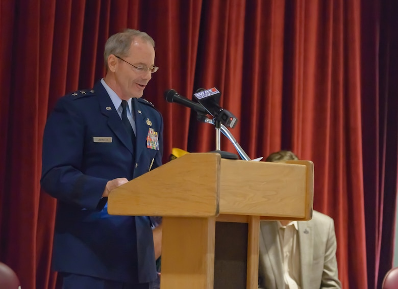 Maj. Gen. Bob LaBrutta, 2nd Air Force commander, delivers remarks during the Memorial Day Cere-mony at the Biloxi National Cemetery May 29, 2017, in Biloxi, Miss. The ceremony paid homage to those who have made the ultimate sacrifice while serving in the armed forces. (U.S. Air Force photo by Andre' Askew)