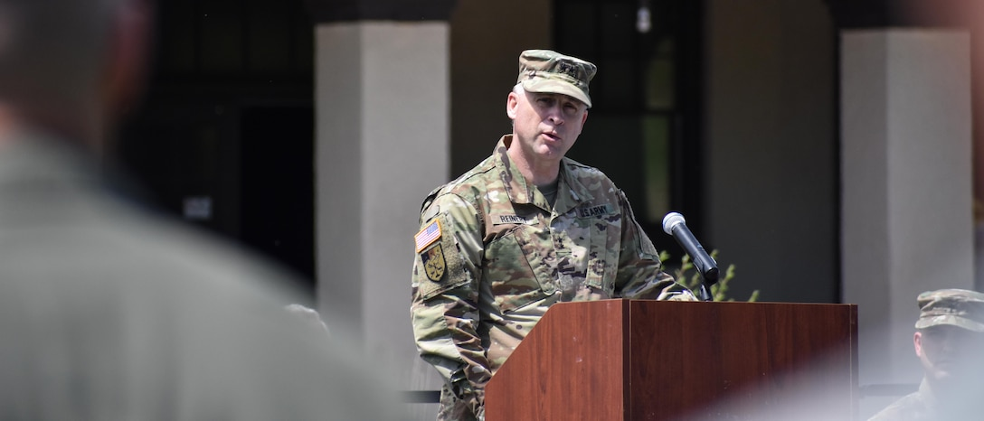 Maj. Gen. Patrick Reinert, 88th RSC commanding general, speaks during a ceremony to dedicate a plaque at Camp Dodge, Iowa on May 25, in honor of the 88th Infantry Division's beginning there in 1917. Command Sergeant Major Earl Rocca, 88th RSC command sergeant major, also attended the Iowa National Guard Command Retreat hosted by Maj. Gen. Timothy Orr, Adjutant General of the Iowa National Guard, and dedicated the plaque in honor of the Blue Devil's 100 years of serving our Nation.