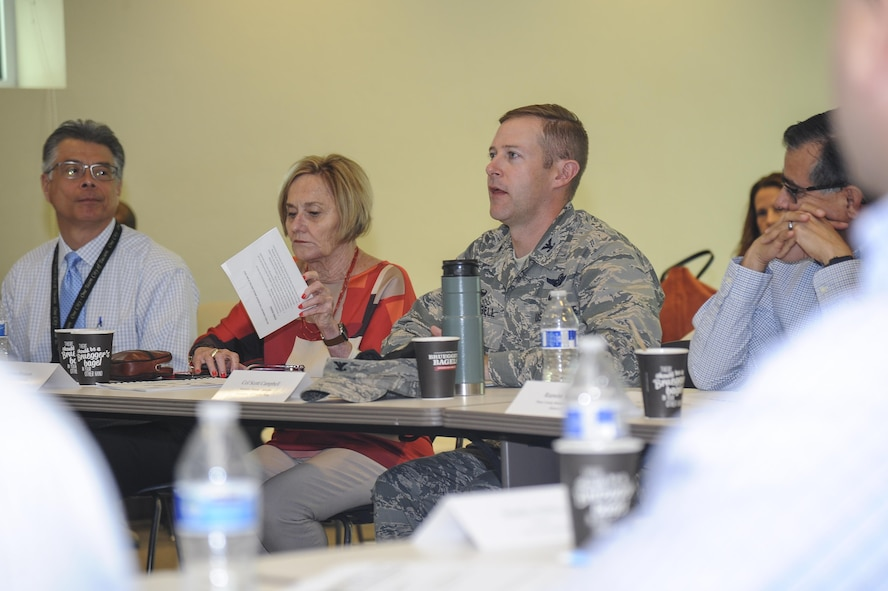 U.S. Air Force Col. Scott Campbell, 355th Fighter Wing commander, gives a briefing during an Air Force Community Partnership meeting at the Pima County Abrams Public Health Center in Tucson, Ariz., May 25, 2017. The meeting included budget briefings on current and future local projects as well as the history behind the coalition between Davis-Monthan Air Force Base, Ariz., and the Tucson population. (U.S. Air Force photo by Senior Airman Mya M. Crosby)