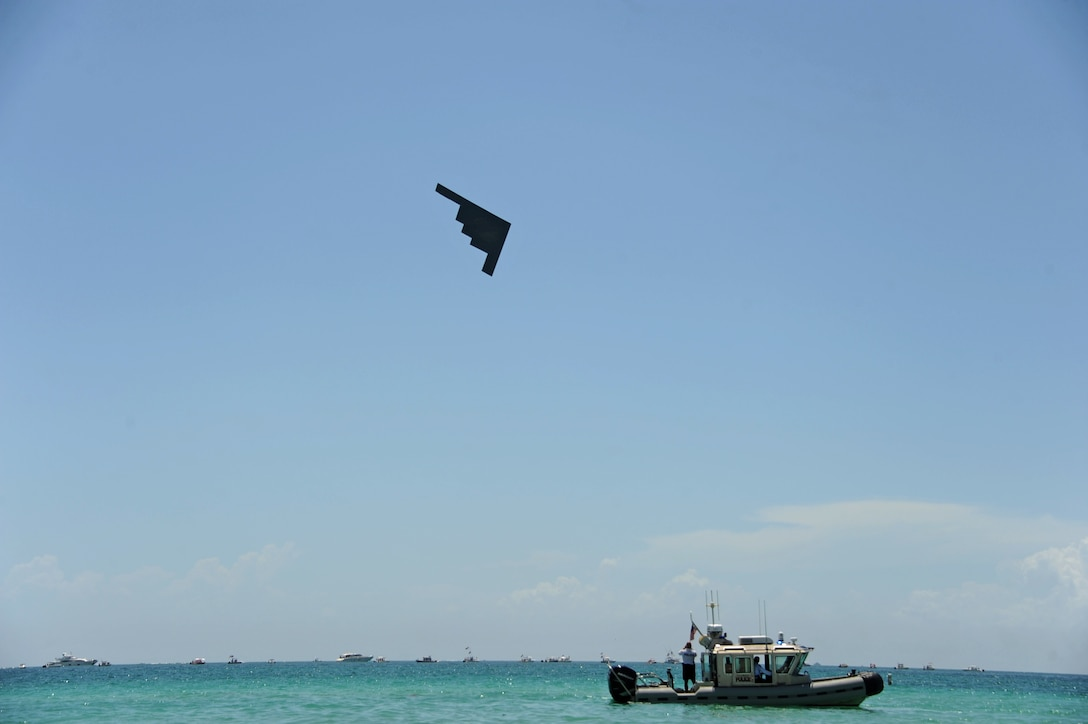 A B-2 Spirit performs a flyover during the Salute to America's Heroes Air and Sea Show in Miami Beach, Fla., May 27, 2017. Bomber aircraft from Minot Air Force Base, Ellsworth AFB, Dyess AFB, and Whiteman AFB, performed flyover demonstrations to allow the public to witness the capabilities of all three bomber platforms over the course of one airshow, and to generate awareness of each aircraft's mission. (U.S. Air Force photo by Senior Airman Erin Trower)