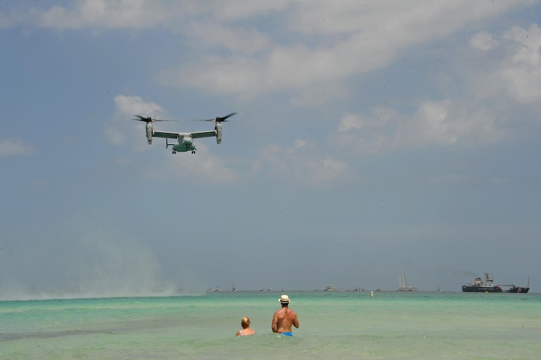 A U.S. Marine MV-22 Osprey hovers over Miami Beach, Fla., during the Salute to America's Heroes Air and Sea Show in Miami Beach, Fla., May 27, 2017. The airshow featured various aircraft representing each branch of the U.S. Armed Forces, including ground personnel to educate the public and airshow attendees about their respective branch's mission. (U.S. Air Force photo by Senior Airman Erin Trower)