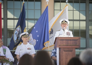 170529-N-ON707-073 FORD ISLAND, Hawaii (May 31, 2017) — Adm. Harry Harris, Commander of U.S. Pacific Command (PACOM), delivers remarks as the guest speaker during the dedication ceremony of the K. Mark Takai Pacific Warfighting Center. The center was renamed in honor of Takai for his service and dedication to the U.S. Armed Forces. The K. Mark Takai Pacific Warfighting Center hosts joint and combined training, simulations, mission rehearsals, conferences, worldwide collaboration, and war-game events in support of U.S. Pacific Command. (U.S. Navy photo by Mass Communication 2nd Class James Mullen/Released)