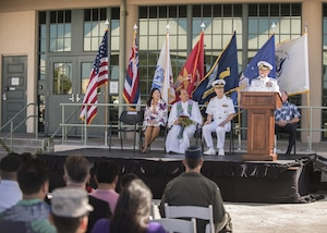170529-N-ON707-089 FORD ISLAND, Hawaii (May 31, 2017)— Adm. Harry Harris, Commander of U.S. Pacific Command (PACOM), delivers remarks as the guest speaker during the dedication ceremony of the K. Mark Takai Pacific Warfighting Center. The center was renamed in honor of Takai for his service and dedication to the U.S. Armed Forces. The K. Mark Takai Pacific Warfighting Center hosts joint and combined training, simulations, mission rehearsals, conferences, worldwide collaboration, and war-game events in support of U.S. Pacific Command. (U.S. Navy photo by Mass Communication 2nd Class James Mullen/Released)