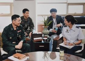 U.S. Air Force Maj. Gen. Nina Armagno, director of plans and policy (J5) for U.S. Strategic Command (USSTRATCOM), speaks with Republic of Korea (ROK) Army Brig. Gen. Lee Jung-woong (front left), acting J5 for the ROK Joint Chiefs of Staff (JCS), during her visit to the ROK JCS headquarters in Seoul, Oct. 17, 2017. Armagno and members of her staff visited Seoul for senior leader discussions on USSTRATCOM's continuing partnership with the Republic of Korea. One of nine Department of Defense unified combatant commands, USSTRATCOM has global responsibilities assigned through the Unified Command Plan that include strategic deterrence, space operations, cyberspace operations, joint electronic warfare, global strike, missile defense and intelligence.