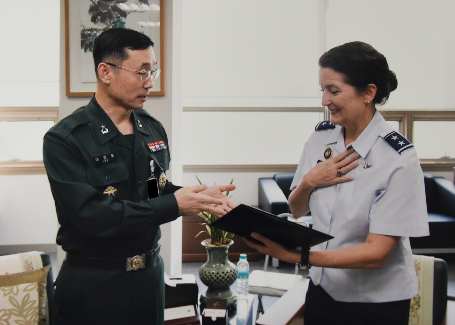 U.S. Air Force Maj. Gen. Nina Armagno, director of plans and policy (J5) for U.S. Strategic Command (USSTRATCOM), meets with Republic of Korea (ROK) Army Brig. Gen. Lee Jung-woong, acting J5 for the ROK Joint Chiefs of Staff (JCS), during her visit to the ROK JCS headquarters in Seoul, Oct. 17, 2017. Armagno and members of her staff visited Seoul for senior leader discussions on USSTRATCOM's continuing partnership with the Republic of Korea. One of nine Department of Defense unified combatant commands, USSTRATCOM has global responsibilities assigned through the Unified Command Plan that include strategic deterrence, space operations, cyberspace operations, joint electronic warfare, global strike, missile defense and intelligence.