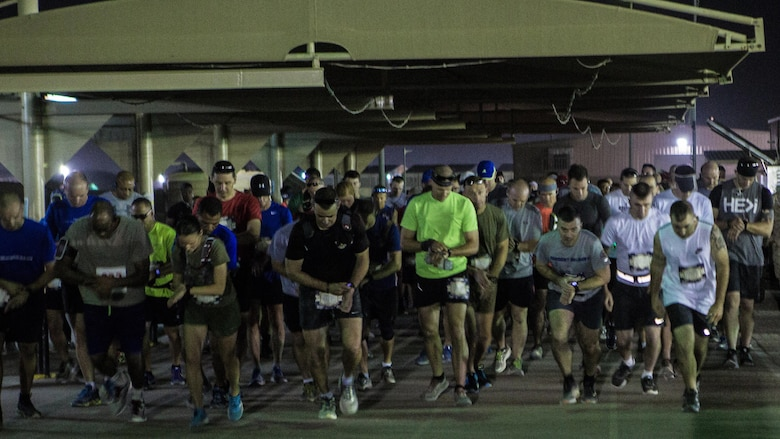 Runners of the 42nd Marine Corps Marathon Forward start the 26.2-mile race while in the Middle East Oct. 22, 2017. Service members deployed with Special Purpose Marine Air-Ground Task Force – Crisis Response – Central Command ran Marine Corps Marathon forward, with U.S. Marine Capt. Danielle Pozun taking 2nd place overall and 1st place for the Women's Division. The Marine Corps Marathon is one of the largest marathons in the world and hosts the event in forward locations to allow service members outside the United States an opportunity to compete.
