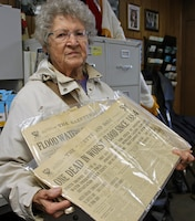 Erma Henry-Raver holds a copy of the York Gazette and Daily newspaper from the flood of 1933 that she brought with her to the 75th anniversary open house celebration of Indian Rock Dam in York, Pennsylvania Saturday October 28, 2017. The flood of 1933 was the primary reason Indian Rock Dam - completed in 1942 - was built.