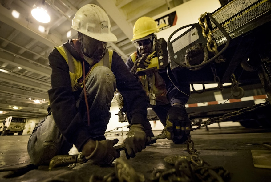 Longshoremen load the USNS Brittin (T-AKR-305) with 855 pieces of equipment Oct. 29, 2017, at Joint Base Charleston-Weapons Station, S.C.