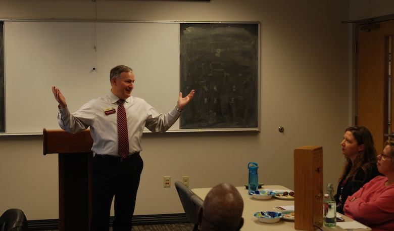 Mike Pierson, Air Force Space Command community outreach chief, talks to the Peterson Toastmasters club about his journey to Distinguished Toastmaster recognition Oct. 24, 2017 at Peterson Air Force Base, Colorado. DTM the highest educational award in the organization. (U.S. Air Force photo by Dave Smith)