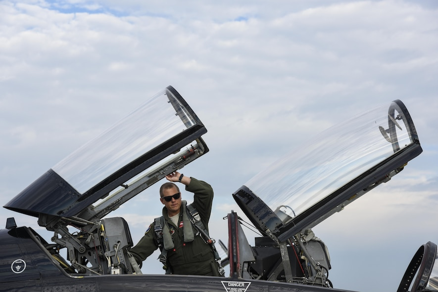 U.S. Air Force 1st Lt. Champ, 71st Fighter Training Squadron T-38 Talon pilot, performs preflight checks at Joint Base Langley-Eustis, Va., Sept. 14, 2017.