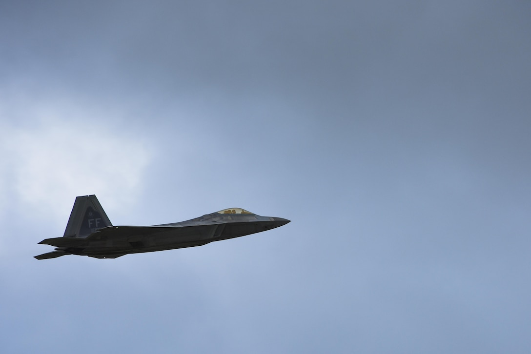 A U.S. Air Force F-22 Raptor takes-off during a training mission at Joint Base Langley-Eustis, Va., Sept. 18, 2017.