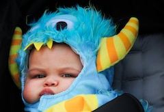 "A ""little monster"" attends the 1st Fighter Wing's Centennial Celebration Fall Festival at Joint Base Langley-Eustis, Va., Oct. 28, 2017."