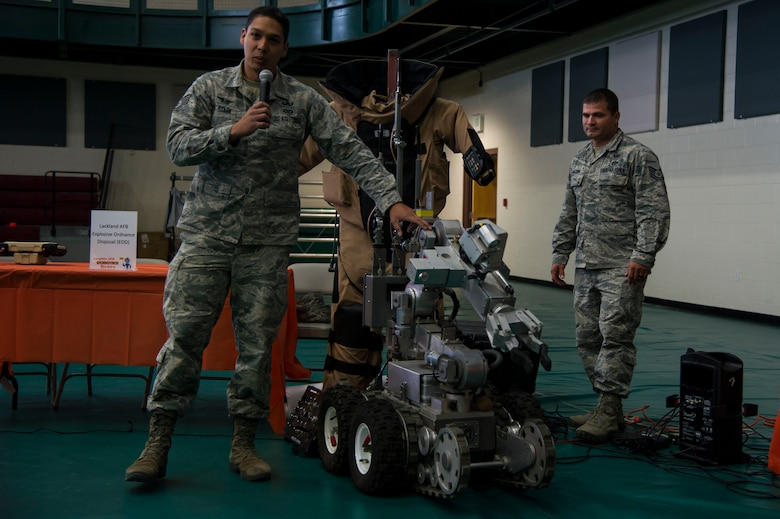 Demonstrators at Laughlin first robot rodeo shows off their creation during cyber awareness week at Laughlin Air Force Base, Texas, Oct. 28, 2017. The robots featured at the rodeo varied from prebuilt creations to explosive ordinance disposal robots from Lackland AFB, Texas.