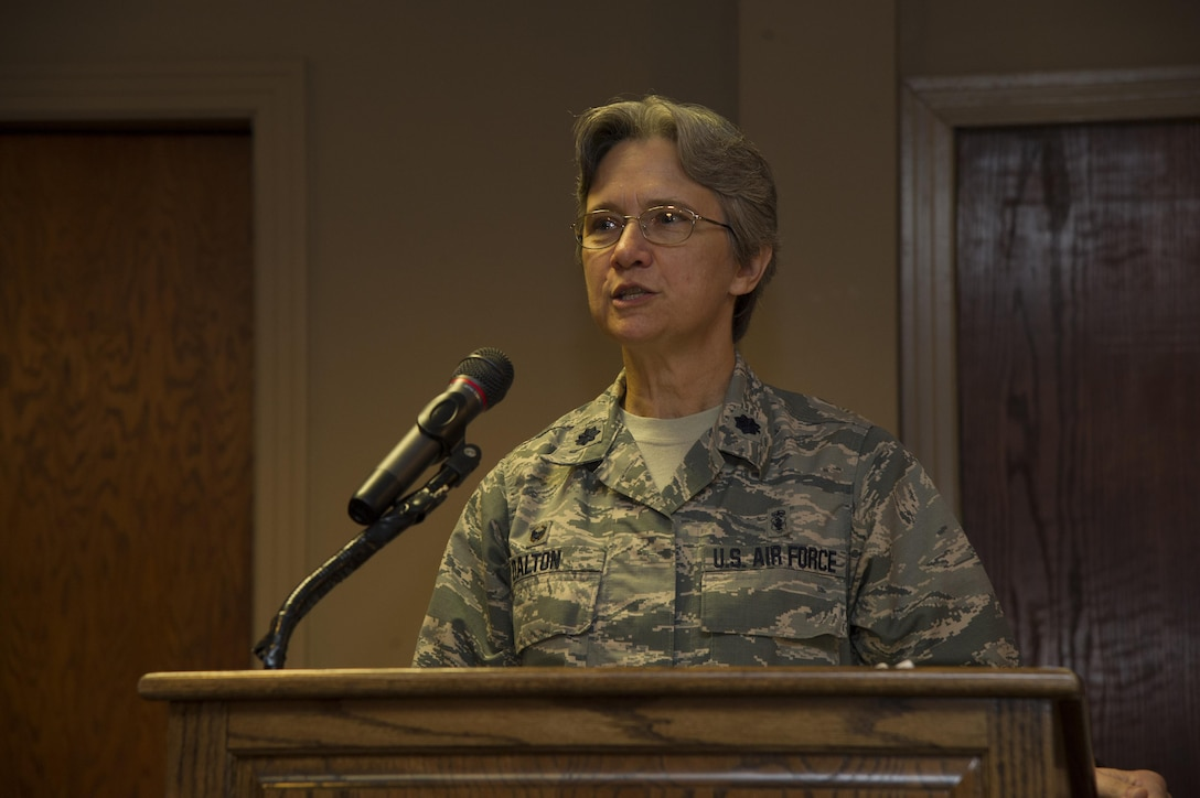 Lt. Col. Patricia Dalton, 47th Medical Operations Squadron commander, gives a speech at a breast cancer luncheon at Laughlin Air Force Base, Texas, Oct. 16. 2017.  Dalton is a two-year breast cancer survivor, who stresses the importance of early detection and education of breast cancer. (U.S. Air Force photo/Airman 1st Class Daniel Hambor)
