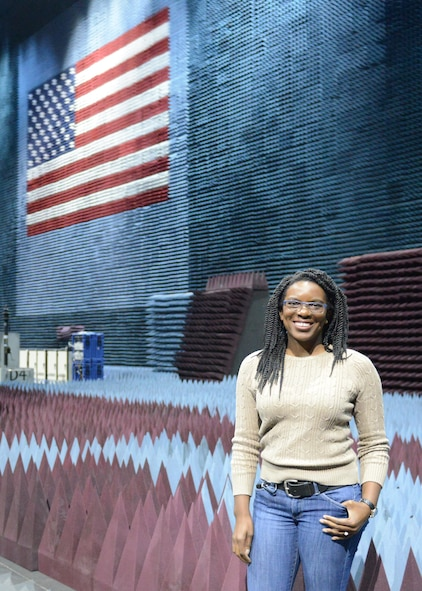 """Amarachi Egbuziem works with the 772d Test Squadron, which oversees electronic warfare testing at the Benefield Anechoic Facility. """"I knew I wanted to become an engineer when I was in the sixth grade. There was no other job where I could build and play with electronics all day. It was an easy choice. I knew about Edwards from a career fair at my school."""" (U.S. Air Force photo by Kenji Thuloweit)"""