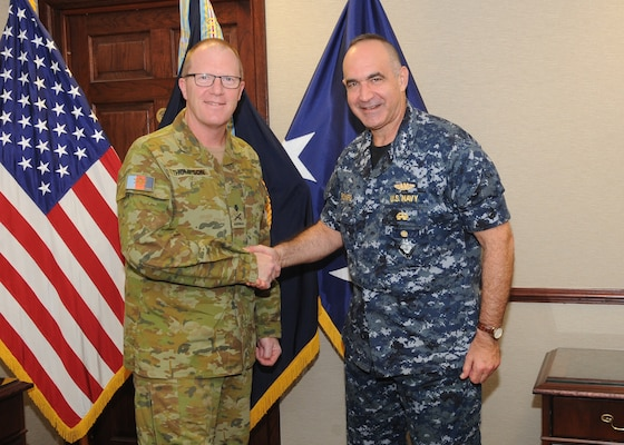 Australian Army Maj. Gen. Marcus Thompson, Deputy Chief Information Warfare for the Australian Defence Force, meets with U.S. Navy Vice Adm. Charles Richard, deputy commander of U.S. Strategic Command (USSTRATCOM), at USSTRATCOM headquarters at Offutt Air Force Base, Neb., Oct. 27, 2017. During his visit, Thompson met with senior leaders and subject matter experts for discussions on areas of collaboration and USSTRATCOM's missions. One of nine Department of Defense unified combatant commands, USSTRATCOM has global responsibilities assigned through the Unified Command Plan that include strategic deterrence, space operations, cyberspace operations, joint electronic warfare, global strike, missile defense and intelligence