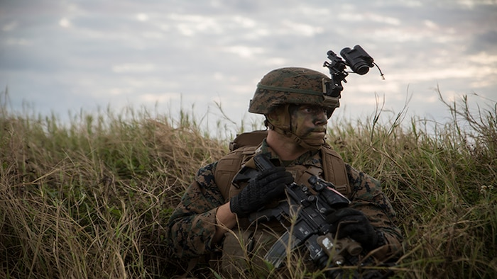 A U.S. Marine conceals his location by crouching in tall grass Oct. 31, 2017, on Ie Shima air field, Okinawa, Japan, during air assault training as part of Blue Chromite 18.