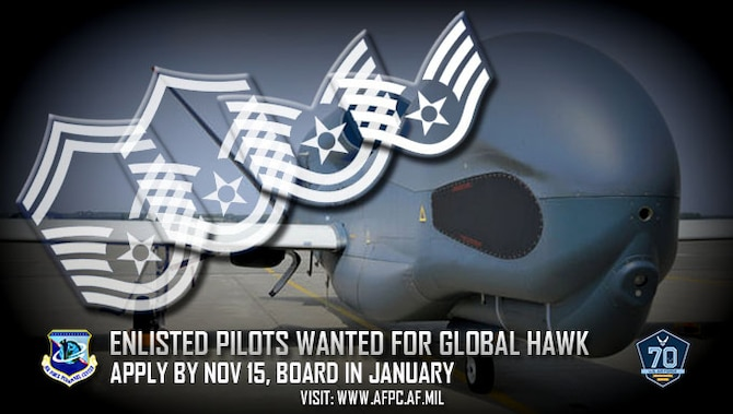 The Air Force is looking for applicants for its newest enlisted aviation AFSC – 1U1X1, Enlisted RPA Pilot. The Air Force has plans for the number of enlisted RPA pilots to grow to 100 within four years in order to integrate them into RQ-4 Global Hawk flying operations. (U.S. Air Force graphic by Kat Bailey)
